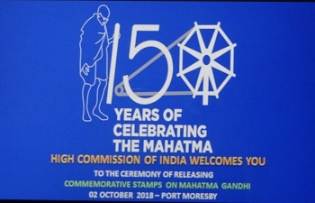 150th Birth Anniversary of Mahatma Gandhi -  Ceremony of Releasing  Commemorative Stamps on Mahatma Gandhi at Lamana Hotel  - 02 October 2018, Port Moresby