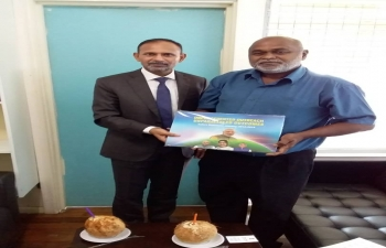 Indian High Commissioner Vijai Kumar meets Solomon Islands National University Vice Chancellor Ganesh Chand in Honiara on 27 March 2019 to discuss, among others, cooperation in Education, Sports and promotion of Ayurveda and Yoga in Solomon Islands and Solar Electrification of the University Campus.