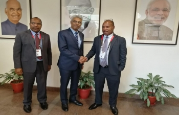 Mr. Manish, Joint Secretary, Ministry of External Affairs, Government of India, meets Hon. Richard Maru, Minister for National Planning and Monitoring, Government of Papua New Guinea, in New Delhi on 28 March 2019.  PNG High Commissioner to India, Mr. Paulias Korni, joins them.  They discussed entire gamut of India-PNG ties.