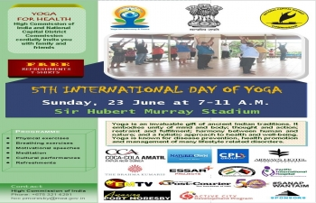 Flyer of 5th International Day of Yoga to be held on Sunday, 23 June 2019