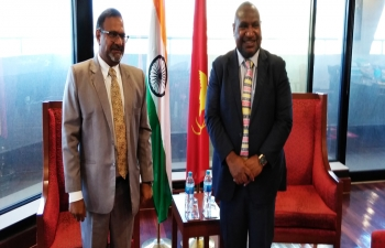 High Commissioner Sushil Kumar Singhal meeting with Honble Prime Minister of Papua New Guinea, Mr. James Marape in Prime Ministers office October 06, 2020