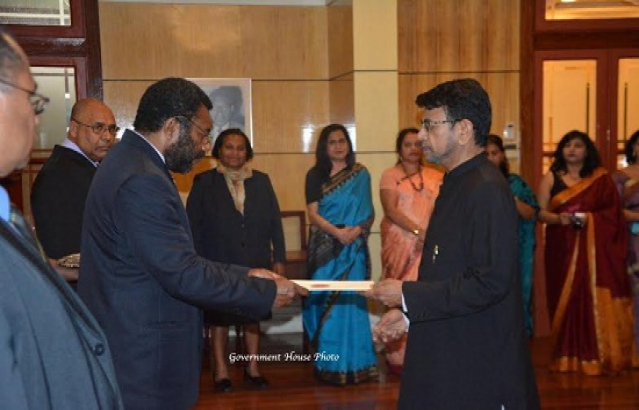 High Commissioner Shri Nagendra Kumar Saxena presenting Credentials to Hon'ble Theo Zurenuoc, Speaker of Parliament